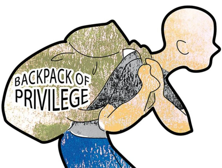 Cartoon image of a person carrying a backpack labelled 'Backpack of Privilege'