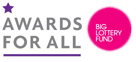 Purple star above text 'Awards for All', pink circle with text 'Big Lottery Fund'