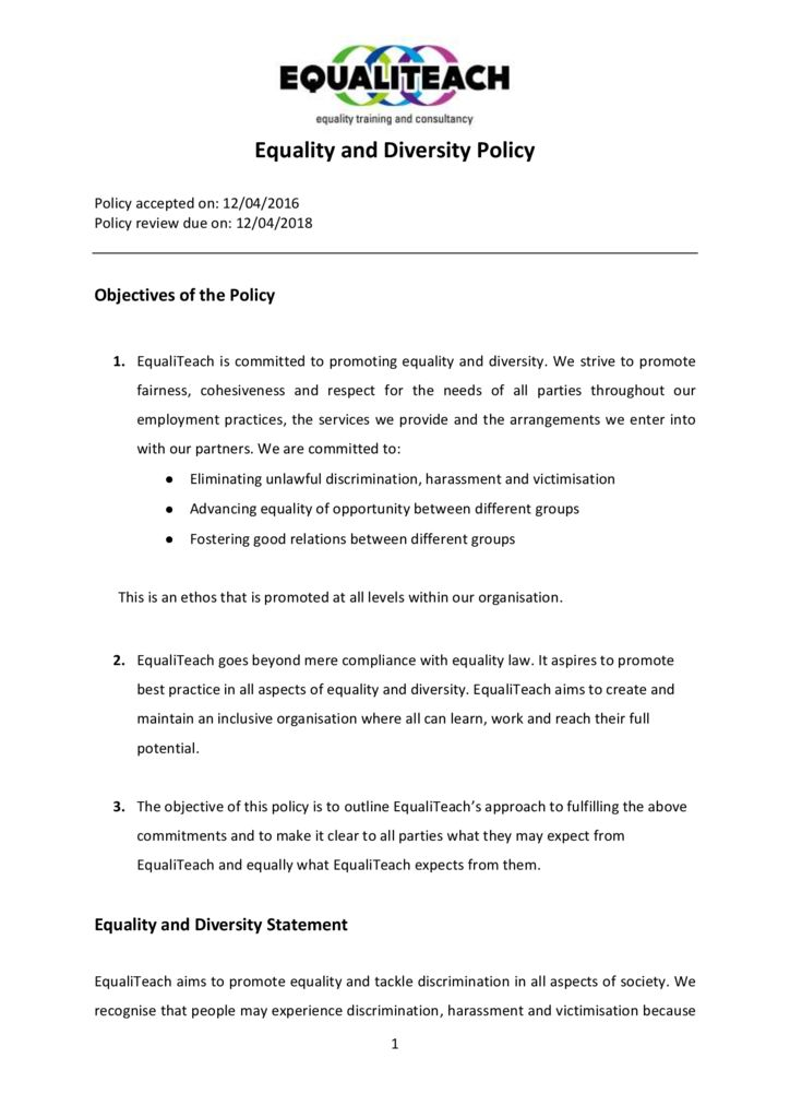 thumbnail of EqualTeach Equality and Diversity Policy