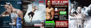Selection of adverts showing men with a muscular physique, advertising Nivea cream, Paco Rabanne perfume, Milk and dietary supplements