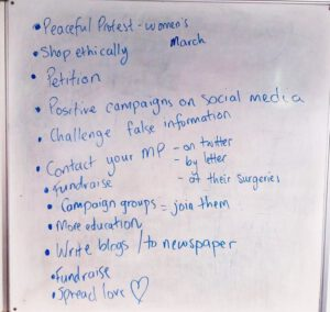 whiteboard showing young people's ideas for how to campaign for change in a positive way
