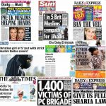 Selection of UK Newspaper front pages with Anti-Muslim headlines