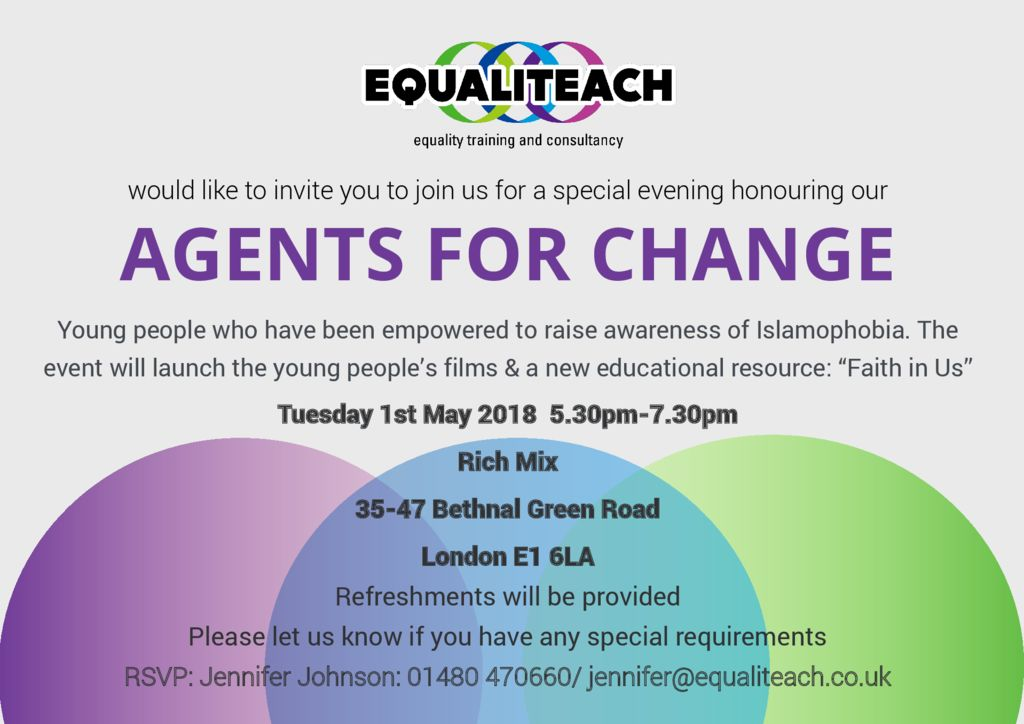 thumbnail of Invitation to EqualiTeach Agents For Change Celebratory Launch